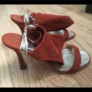 Rene Mancini Rust Suede open toe lace up heels
